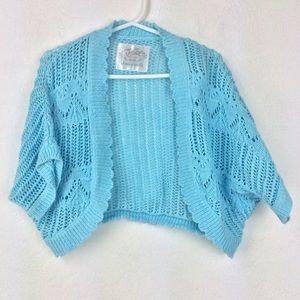 Blue Justice crochet cardigan